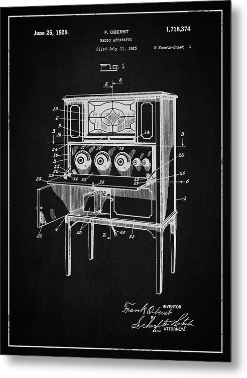 Vintage Radio Patent, 1929 - Metal Print from Wallasso - The Wall Art Superstore