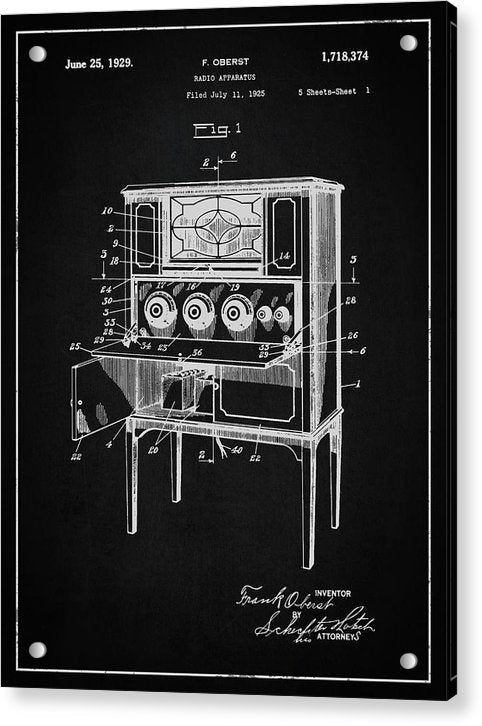 Vintage Radio Patent, 1929 - Acrylic Print from Wallasso - The Wall Art Superstore