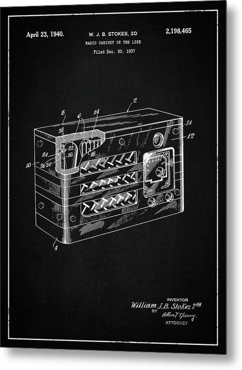 Vintage Radio Patent, 1940 - Metal Print from Wallasso - The Wall Art Superstore
