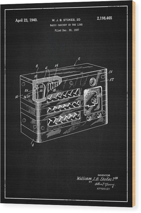 Vintage Radio Patent, 1940 - Wood Print from Wallasso - The Wall Art Superstore