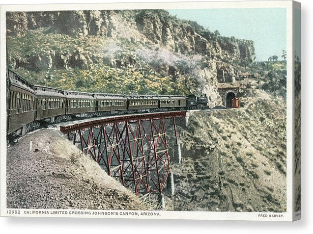 Vintage Railroad Postcard, Bridge and Tunnel - Canvas Print from Wallasso - The Wall Art Superstore