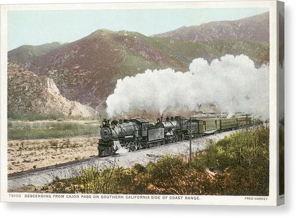 Vintage Railroad Postcard, Cajon Pass - Canvas Print from Wallasso - The Wall Art Superstore