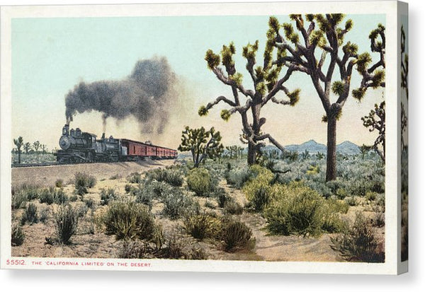 Vintage Railroad Postcard, California Limited - Canvas Print from Wallasso - The Wall Art Superstore