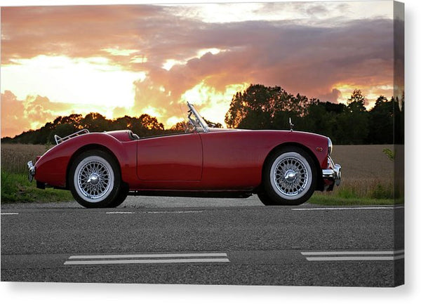 Vintage Red Sports Car At Sunset - Canvas Print from Wallasso - The Wall Art Superstore
