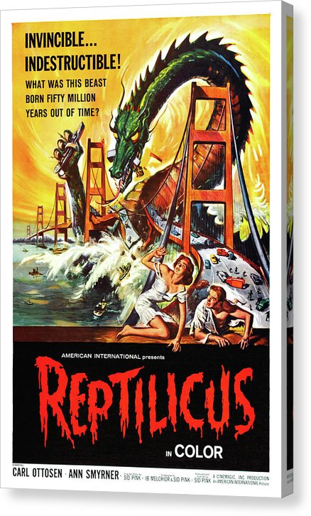 Vintage Reptilicus Movie Poster, 1961 - Canvas Print from Wallasso - The Wall Art Superstore