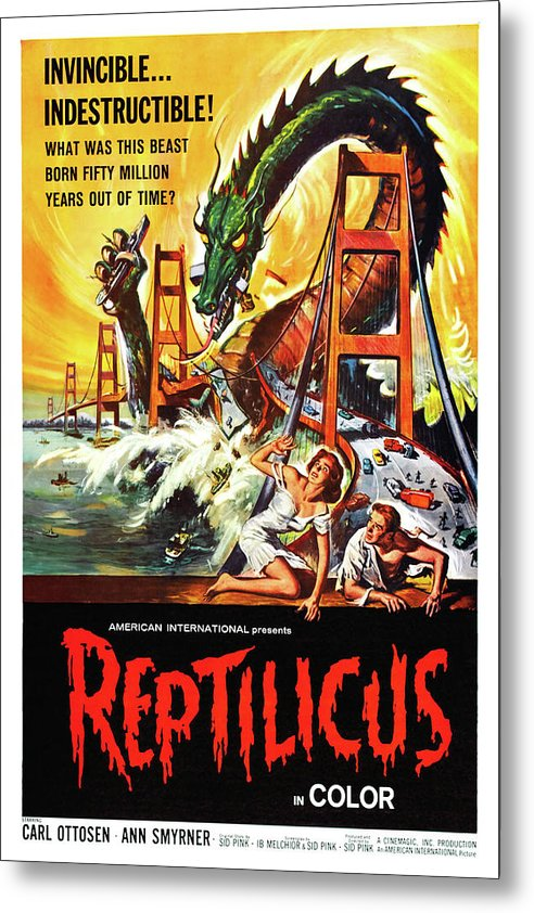 Vintage Reptilicus Movie Poster, 1961 - Metal Print from Wallasso - The Wall Art Superstore