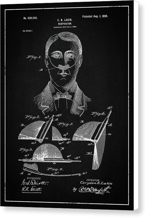 Vintage Respirator Patent, 1899 - Canvas Print from Wallasso - The Wall Art Superstore