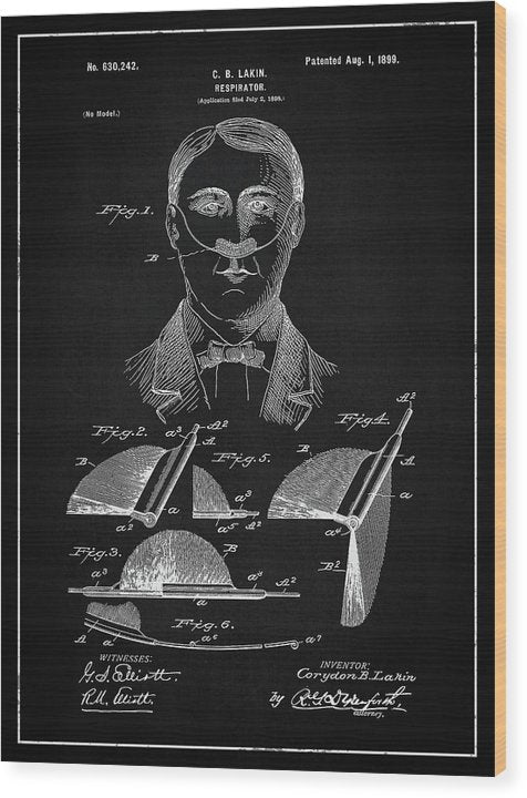 Vintage Respirator Patent, 1899 - Wood Print from Wallasso - The Wall Art Superstore