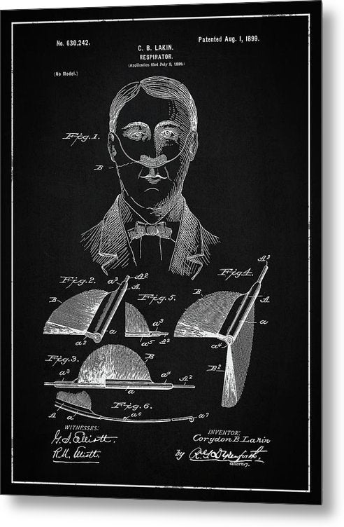 Vintage Respirator Patent, 1899 - Metal Print from Wallasso - The Wall Art Superstore