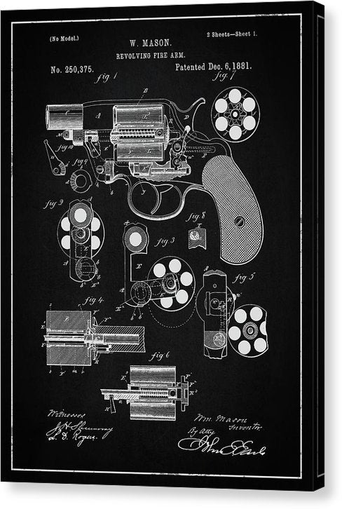 Vintage Revolver Gun Patent, 1881 - Canvas Print from Wallasso - The Wall Art Superstore