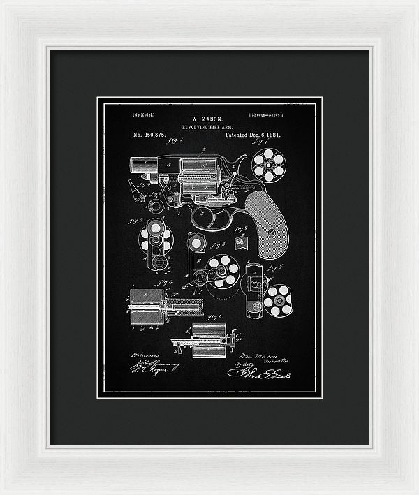 Vintage Revolver Gun Patent, 1881 - Framed Print from Wallasso - The Wall Art Superstore