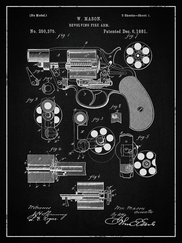 Vintage Revolver Gun Patent, 1881 - Art Print from Wallasso - The Wall Art Superstore