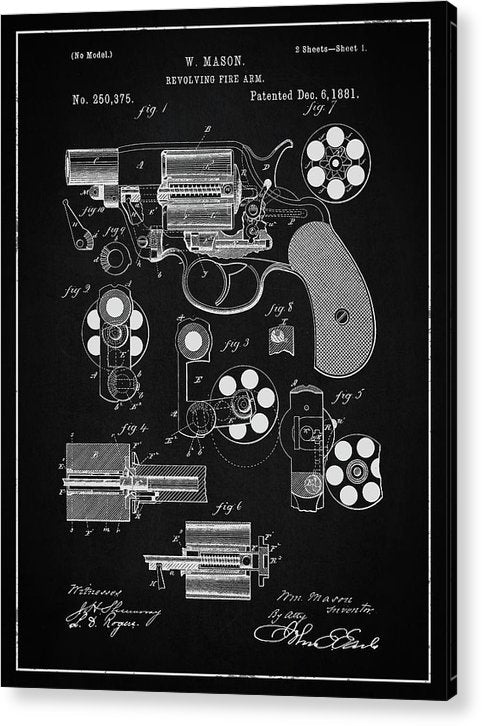 Vintage Revolver Gun Patent, 1881 - Acrylic Print from Wallasso - The Wall Art Superstore