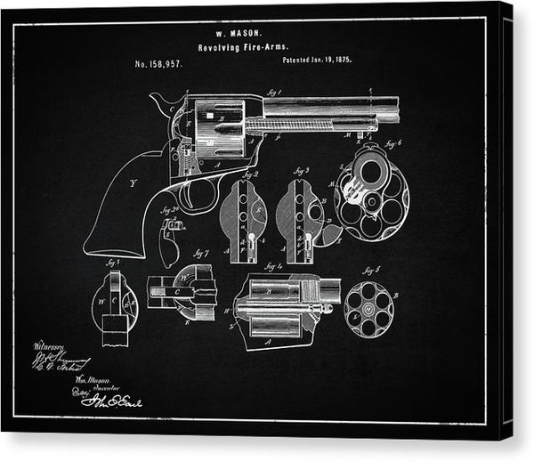 Vintage Revolver Patent, 1875 - Canvas Print from Wallasso - The Wall Art Superstore