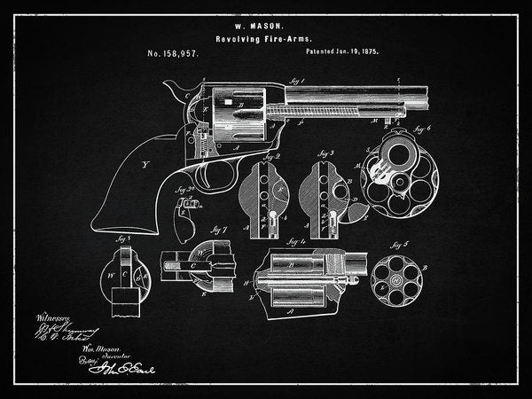 Vintage Revolver Patent, 1875 - Art Print from Wallasso - The Wall Art Superstore