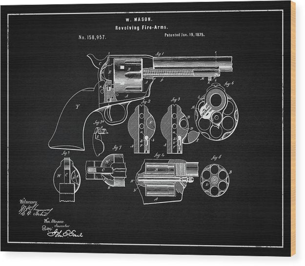 Vintage Revolver Patent, 1875 - Wood Print from Wallasso - The Wall Art Superstore