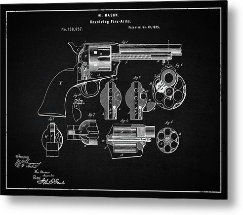 Vintage Revolver Patent, 1875 - Metal Print from Wallasso - The Wall Art Superstore