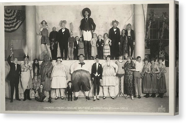 Vintage Ringling Bros and Barnum and Bailey Circus Freakshow Performers - Canvas Print from Wallasso - The Wall Art Superstore