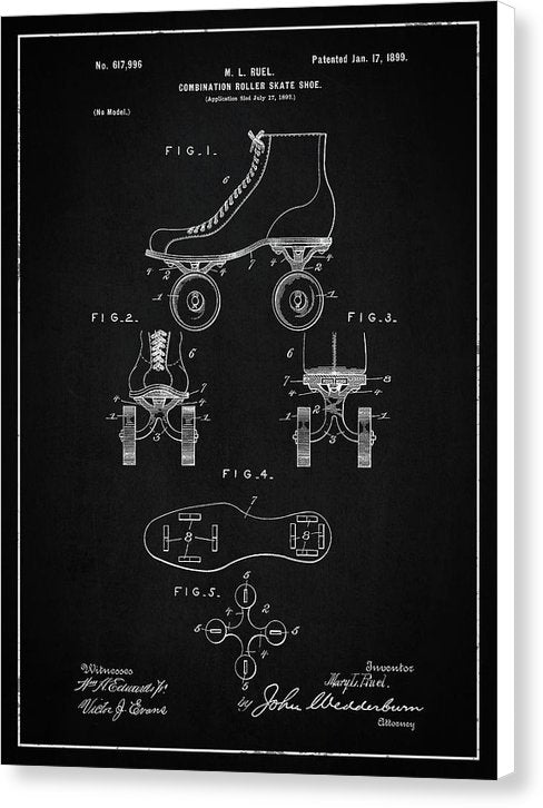 Vintage Roller Skate Patent, 1899 - Canvas Print from Wallasso - The Wall Art Superstore
