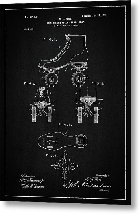 Vintage Roller Skate Patent, 1899 - Metal Print from Wallasso - The Wall Art Superstore