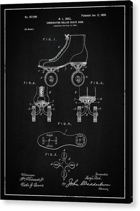 Vintage Roller Skate Patent, 1899 - Acrylic Print from Wallasso - The Wall Art Superstore