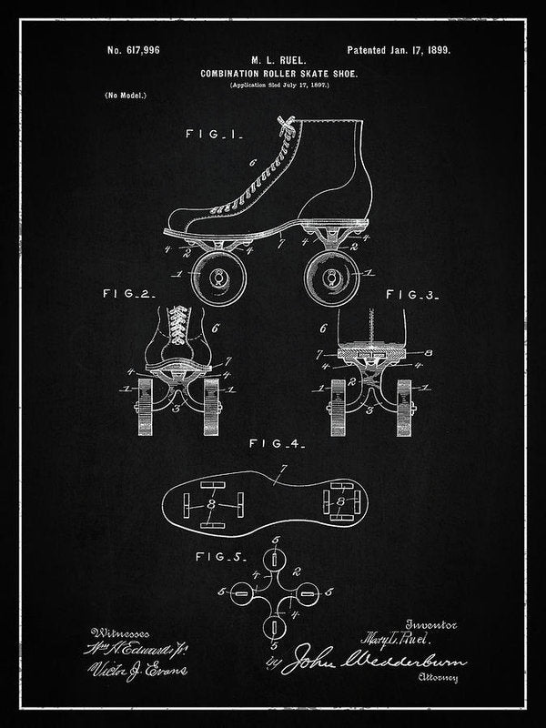 Vintage Roller Skate Patent, 1899 - Art Print from Wallasso - The Wall Art Superstore
