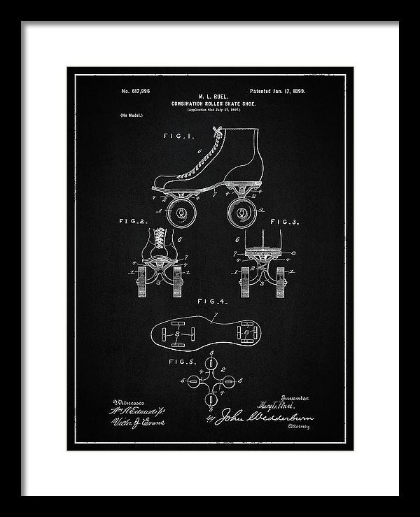 Vintage Roller Skate Patent, 1899 - Framed Print from Wallasso - The Wall Art Superstore
