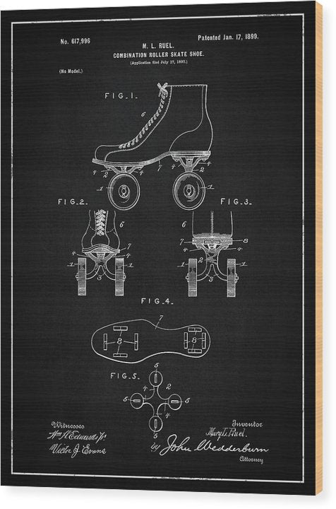 Vintage Roller Skate Patent, 1899 - Wood Print from Wallasso - The Wall Art Superstore