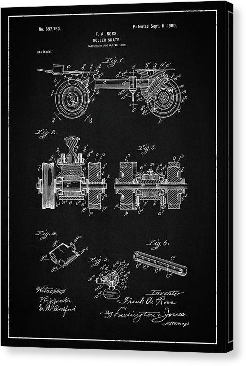 Vintage Roller Skate Patent, 1900 - Canvas Print from Wallasso - The Wall Art Superstore