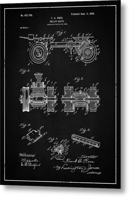 Vintage Roller Skate Patent, 1900 - Metal Print from Wallasso - The Wall Art Superstore