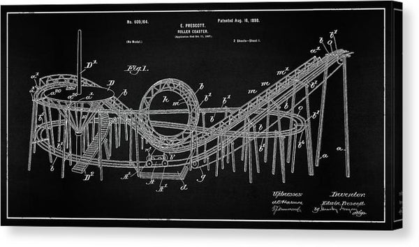 Vintage Rollercoaster Patent Panoramic, 1898 - Canvas Print from Wallasso - The Wall Art Superstore