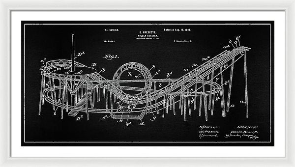 Vintage Rollercoaster Patent Panoramic, 1898 - Framed Print from Wallasso - The Wall Art Superstore