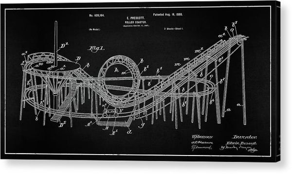 Vintage Rollercoaster Patent Panoramic, 1898 - Acrylic Print from Wallasso - The Wall Art Superstore