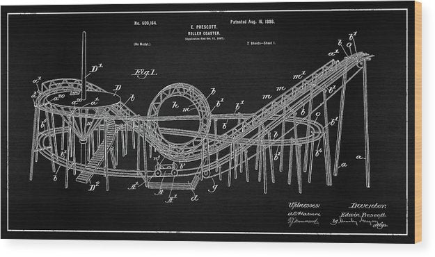 Vintage Rollercoaster Patent Panoramic, 1898 - Wood Print from Wallasso - The Wall Art Superstore