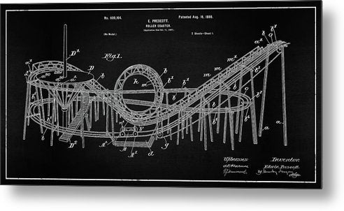 Vintage Rollercoaster Patent Panoramic, 1898 - Metal Print from Wallasso - The Wall Art Superstore