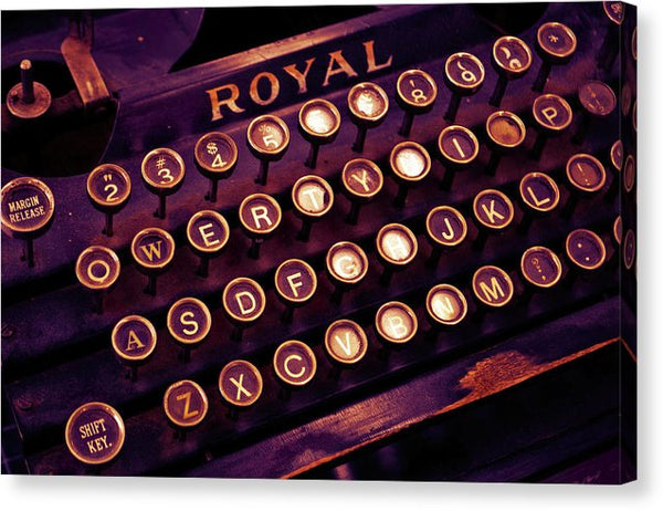 Vintage Royal Purple Typewriter - Canvas Print from Wallasso - The Wall Art Superstore