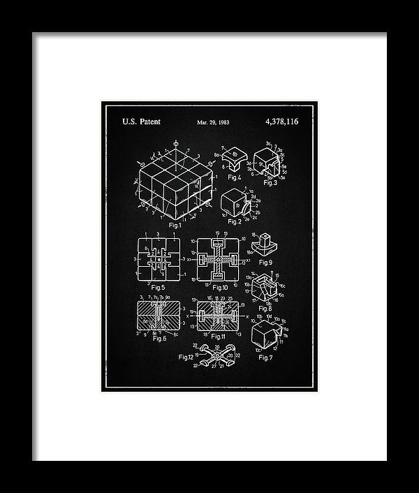 Vintage Rubik's Cube Patent, 1983 - Framed Print from Wallasso - The Wall Art Superstore