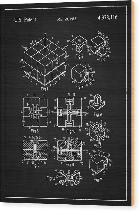Vintage Rubik's Cube Patent, 1983 - Wood Print from Wallasso - The Wall Art Superstore