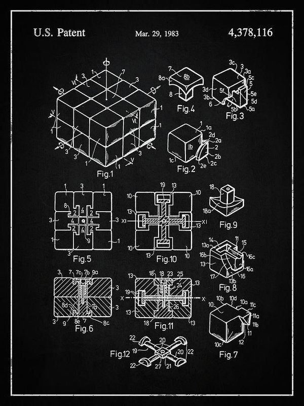 Vintage Rubik's Cube Patent, 1983 - Art Print from Wallasso - The Wall Art Superstore