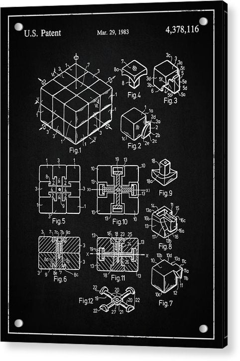 Vintage Rubik's Cube Patent, 1983 - Acrylic Print from Wallasso - The Wall Art Superstore