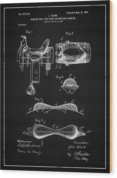 Vintage Saddle Patent, 1901 - Wood Print from Wallasso - The Wall Art Superstore