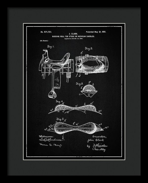 Vintage Saddle Patent, 1901 - Framed Print from Wallasso - The Wall Art Superstore
