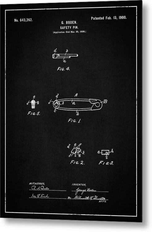 Vintage Safety Pin Patent, 1900 - Metal Print from Wallasso - The Wall Art Superstore