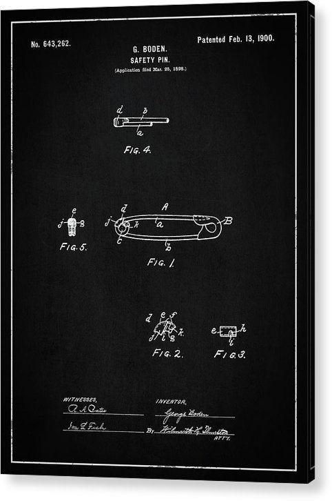 Vintage Safety Pin Patent, 1900 - Acrylic Print from Wallasso - The Wall Art Superstore