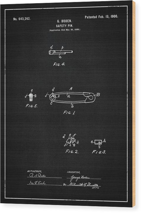 Vintage Safety Pin Patent, 1900 - Wood Print from Wallasso - The Wall Art Superstore