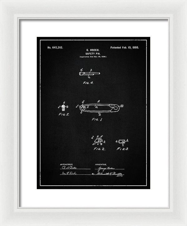 Vintage Safety Pin Patent, 1900 - Framed Print from Wallasso - The Wall Art Superstore