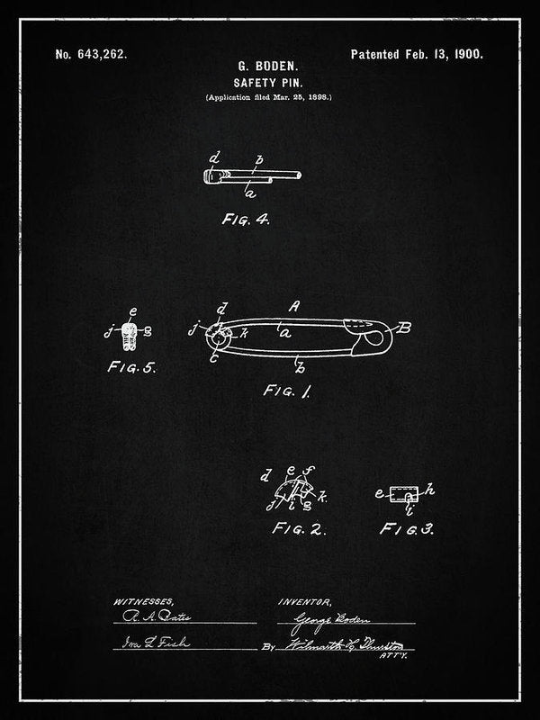Vintage Safety Pin Patent, 1900 - Art Print from Wallasso - The Wall Art Superstore