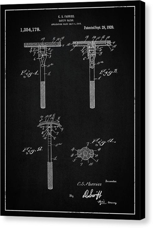 Vintage Safety Razor Patent, 1920 - Canvas Print from Wallasso - The Wall Art Superstore