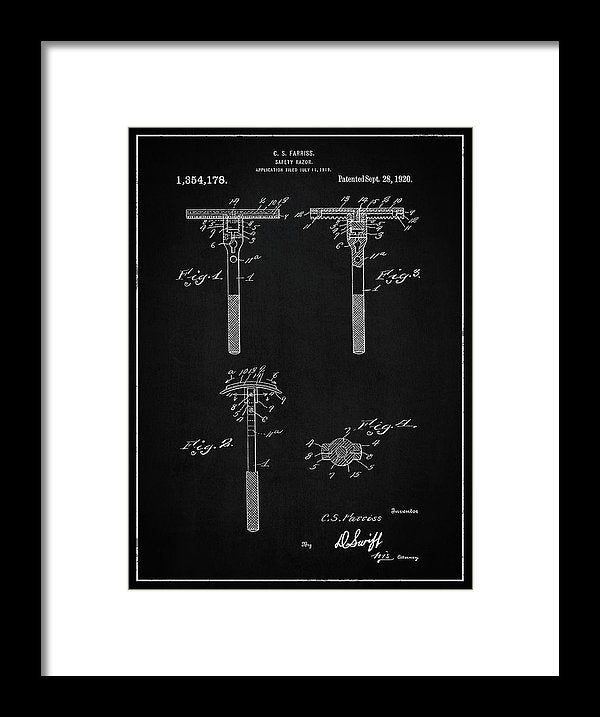 Vintage Safety Razor Patent, 1920 - Framed Print from Wallasso - The Wall Art Superstore