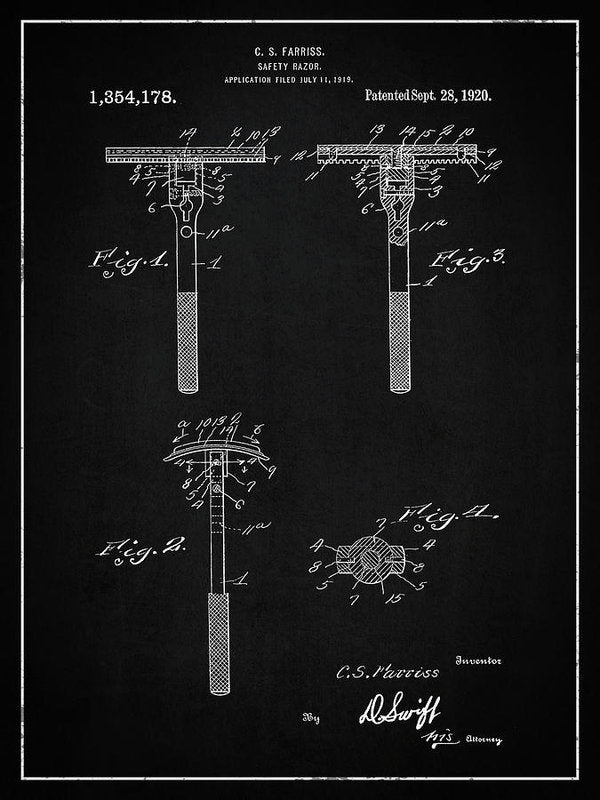 Vintage Safety Razor Patent, 1920 - Art Print from Wallasso - The Wall Art Superstore
